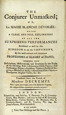 Conjurers Photograph - The Conjurer Unmasked (1785) by British Library
