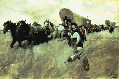 School Days Painting - The Connecticut Settlers Entering by Howard Pyle