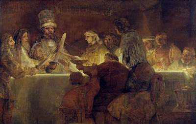 Rembrandt Painting - The Conspiracy Of The Batavians Under Claudius Civilis by Rembrandt van Rijn