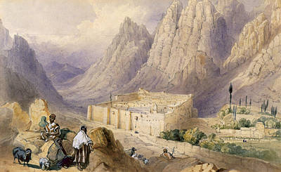 Mountain Goat Drawing - The Convent Of St. Catherine, Mount by William Henry Bartlett