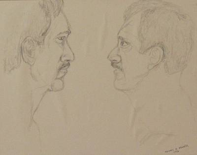 Drawing - The Conversation by Michael Anthony Edwards