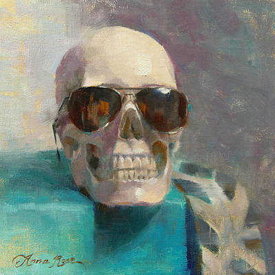 Skull Painting - The Cool Kid by Anna Rose Bain