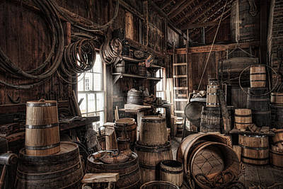 Old Barrels Photograph - The Coopers Shop - 19th Century Workshop by Gary Heller