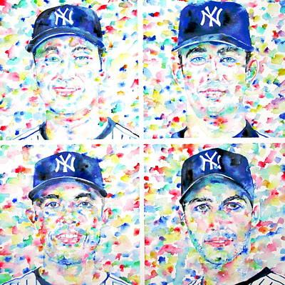 Derek Jeter Painting - the CORE FOUR - watercolor portrait.1 by Fabrizio Cassetta