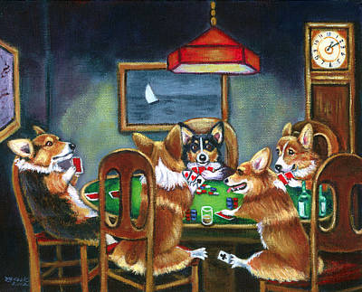 Cartoon Painting - The Corgi Poker Game by Lyn Cook