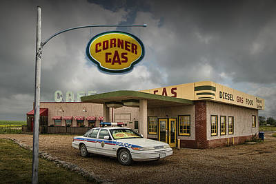 Dog In Landscape Photograph - The Corner Gas Station From The Canadian Tv Sitcom by Randall Nyhof