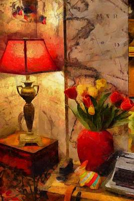 Old World Still Life Painting - The Corner Light  by L Wright