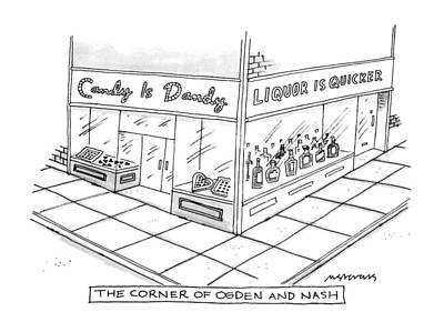 Storefront Drawing - The Corner Of Ogden And Nash: by Mick Stevens
