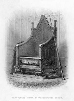 Westminster Abbey Drawing - The Coronation Chair At  Westminster by Mary Evans Picture Library