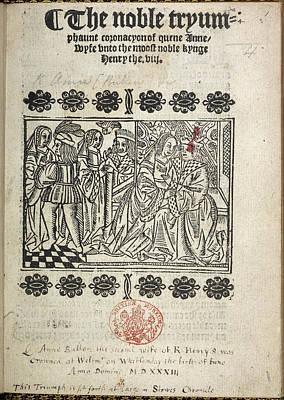 The Coronation Of Anne Boleyn Art Print by British Library