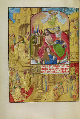 Bible Drawing - The Coronation Of The Virgin Master Of The Lübeck Bible by Litz Collection