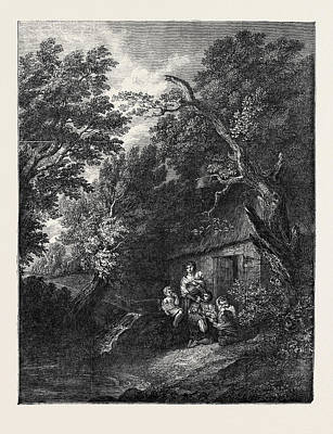 Country Cottage Drawing - The Cottage Door by Gainsborough, Thomas (1727-88), English