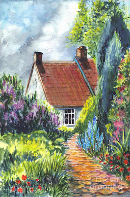 Red Roof Drawing - The Cottage Garden Path by Carol Wisniewski