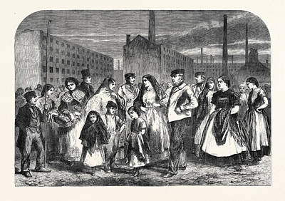 Manchester Mill Drawing - The Cotton Famine Group Of Mill Operatives At Manchester by English School