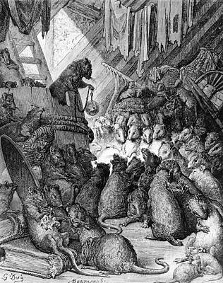 Mouse Drawing - The Council Held By The Rats by Gustave Dore