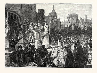 The Countess De Montfort Inciting The People Of Rennes Art Print by English School