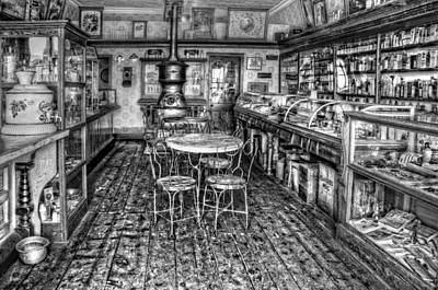 The Country Store Black And White Art Print