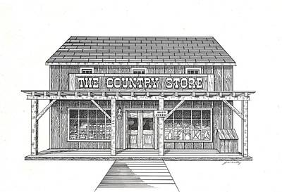 Country Store Drawing - The Country Store by J W Kelly