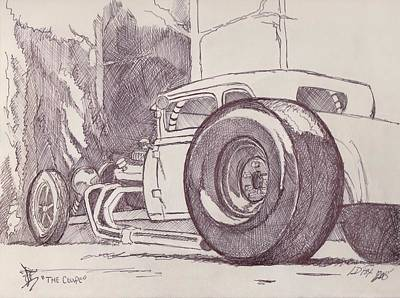 Funny Car Drawing - The Coupe by Larry Fox