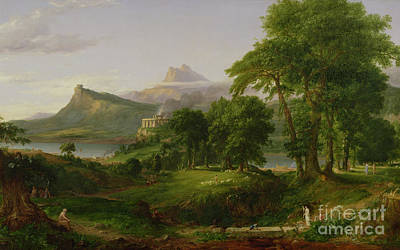 Mountainous Painting - The Course Of Empire   The Arcadian Or Pastoral State by Thomas Cole