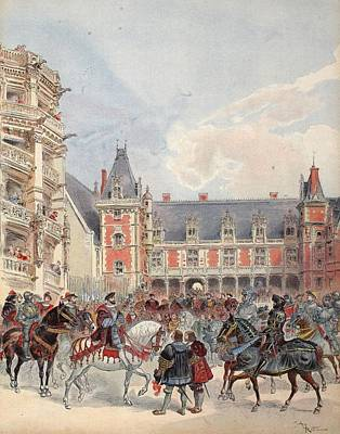 Horses Drawing - The Court In Chateaus Of The Loire by Albert Robida
