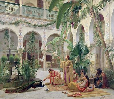 Concubine Painting - The Court Of The Harem by Albert Girard
