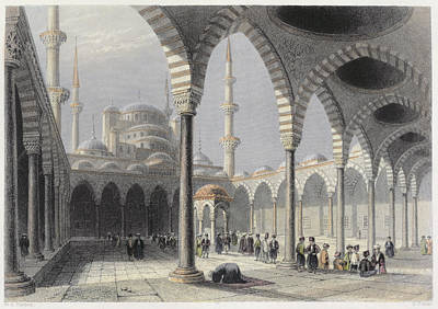 Constantinople Drawing - The Court Of The Mosque Of Sultan by William Henry Bartlett