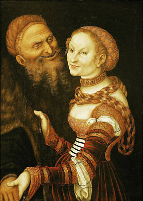 The Courtesan And The Old Man, C.1530 Oil On Canvas Art Print by Lucas, the Elder Cranach