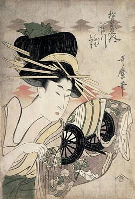 Wagon Wheels Photograph - The Courtesan Ichikawa Of The Matsuba Establishment, Late 1790s Colour Woodcut by Kitagawa Utamaro