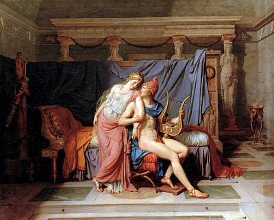 The Courtship Of Paris And Helen Art Print by Jacques Louis David