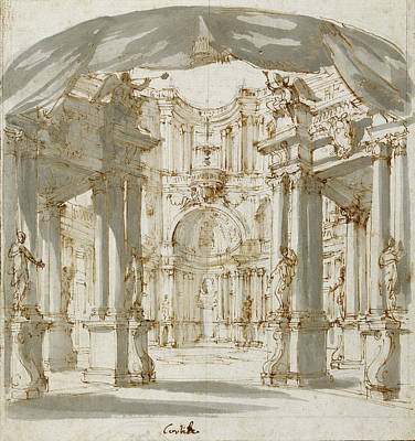 Wash Drawing - The Courtyard Of A Palace Project For A Stage Filippo by Litz Collection
