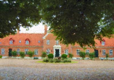 Digital Art - The Courtyard Of Oerumgaard Manor House_painting by Asbjorn Lonvig