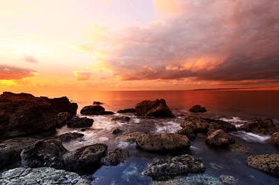 The Cove Sunset Art Print by Ollie Taylor
