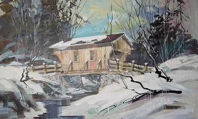 Covered Bridge Painting - The Covered Bridge by Clifford Knoll