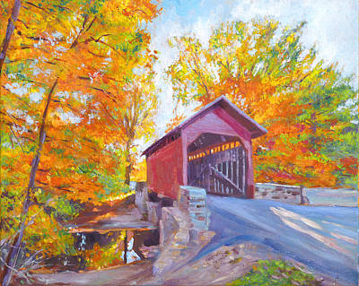 Covered Bridge Painting - The Covered Bridge by David Lloyd Glover