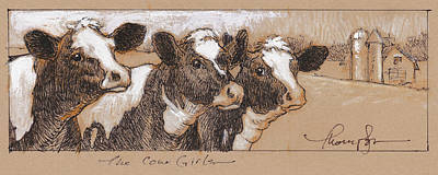Cows Mixed Media - The Cow Girls Drawing by Tracie Thompson