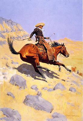 Fredrick Remington Digital Art - The Cowboy by Fredrick Remington