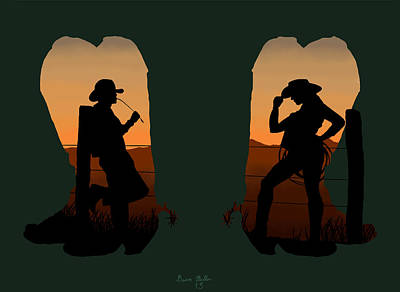 Nature Art Painting - The Cowboy Way 2.. Nice Boots by Brien Miller