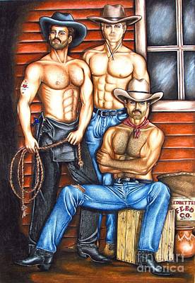 Homoerotic Drawing - The Cowboy Way by Joseph Sonday
