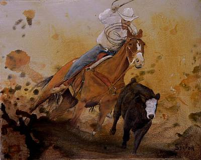 Roping Painting - The Cowboy Way by Stefon Marc Brown
