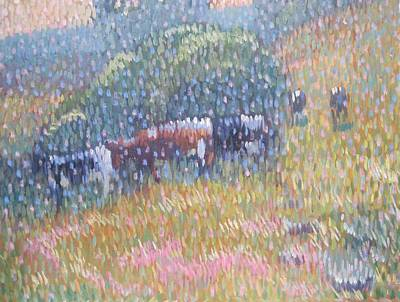 The Cows Are In The Meadow Print by Len Stomski