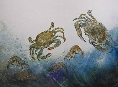 Grouping Mixed Media - The Crabby Couple by Nancy Gorr