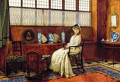 Maternity Wall Art - Painting - The Cradle Song by John Atkinson Grimshaw