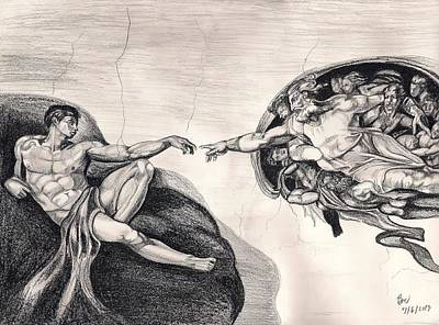 The Creation Of Adam A Redraw Art Print by Beverly Marshall