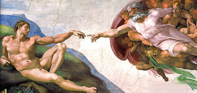 Amazing Stories Painting - The Creation Of Adam by Michelangelo