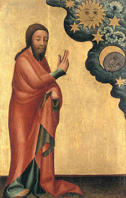 Heavenly Body Photograph - The Creation Of The Sun, Moon And Stars, Detail From The Grabow Altarpiece, 1379-83 Tempera On Panel by Master Bertram of Minden