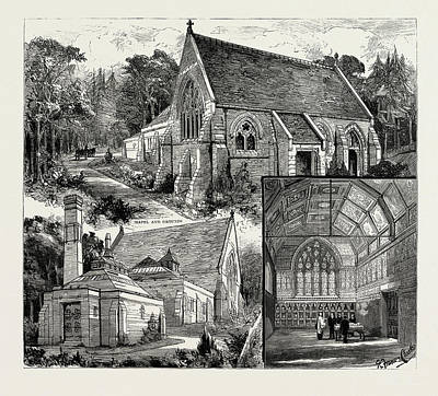 Cremation Drawing - The Cremation Buildings At St by Litz Collection