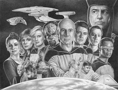 Data Drawing - The Crew From The Next Generation by Jonathan W Brown