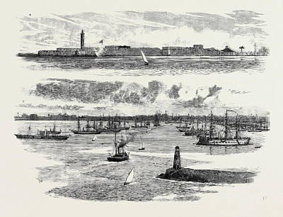 Boat Dock Drawing - The Crisis In Egypt, A The Fortifications Of Alexandria by Egyptian School