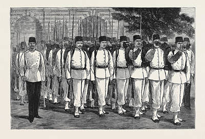 Crisis Drawing - The Crisis In Egypt Egyptian Troops On Parade by Egyptian School